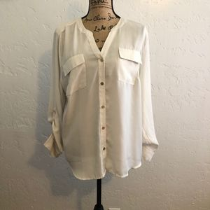 212 Collection, cream colored blouse, size XL